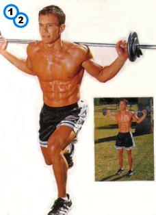 fitness-oefening front lunges met stang-1